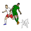 two soccer players playing in game vector illustration sketch doodle hand drawn with black lines isolated on white background