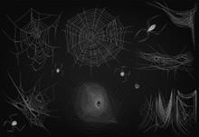 Cobweb Set Isolated On Black Transparent Alpha Background. Spiderweb For Halloween Design. High Quality Spider Web Horror Halloween Design Decor.