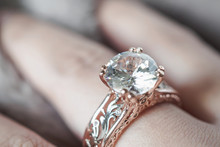 Woman Hand With Jewelry Diamond Ring On Finger