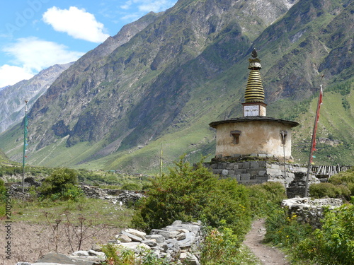 Stupa near Nile village - beautiful buddhist building - Manaslu and Tsum Valley Canvas Print