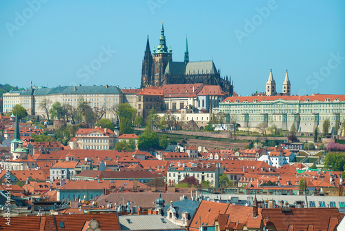 Fotobehang Oost Europa St. Vitus Cathedral over the roofs of Prague. Czech Republic