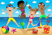 Children Or Kids In Swimsuit Jumping On The Beach
