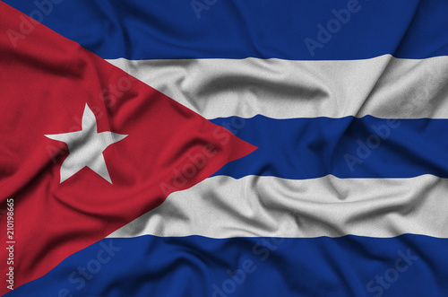 Poster Texas Cuba flag is depicted on a sports cloth fabric with many folds. Sport team banner
