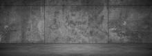 Wide Dark Grunge Stone Wall Background