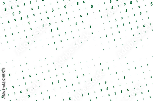 Fotografia, Obraz  Green vector background with signs of dollars