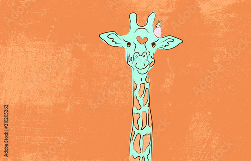 Cute giraffe with the bird Canvas Print