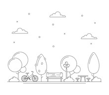 Line Art City Park Illustration With Trees, Bench, Bicycle, Table For Picnic Or Chess. Town Concept. Thin Line Art Icons. Black And White. Vector Isolated On White