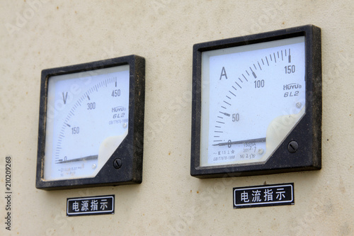 ammeter and voltmeter in a machinery Canvas Print