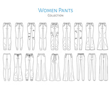 Women Pants Collection, Vector...