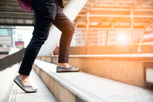 Close Up Of Woman Legs Walking Up Stair In The City. Business And People Concept. Try And Succeed Theme.