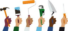 Hands Of Handymen Holding Work Tools, EPS 8 Vector Illustration