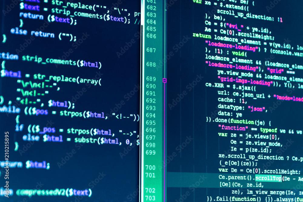 Fototapety, obrazy: Vivid colors. Website design. Developer occupation work photo. Screen of web developing javascript code. Coding hacker concept. IT business company. Screenshot with random parts of program code.