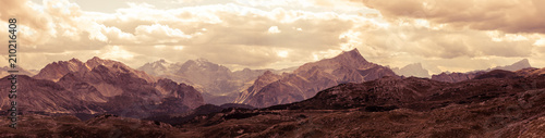 Fotobehang Beige Panoramic view of Italian Dolomites mountains