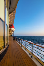 Travel And Cruise Vacation Concept. Lifeboat Deck On A Luxury Cruise Ship.