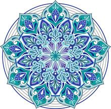 Round Blue Indian Pattern