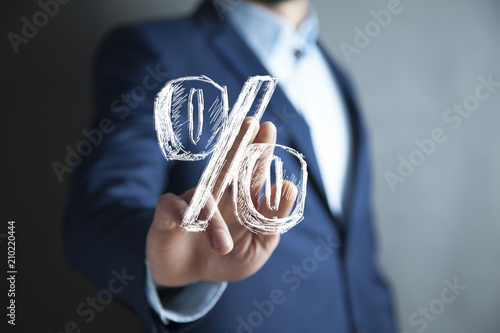 Fototapeta Discount and commission concept represented by percentage sign. obraz