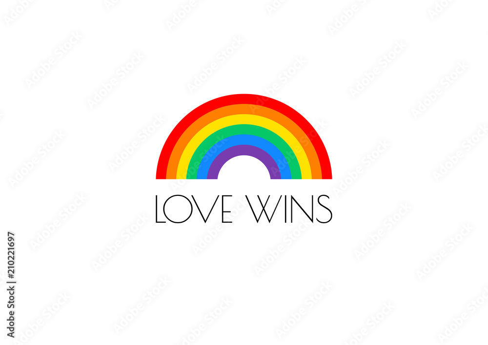 Fototapety, obrazy: Pride love wins text and rainbow flag vector illustration