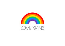 Pride Love Wins Text And Rainb...