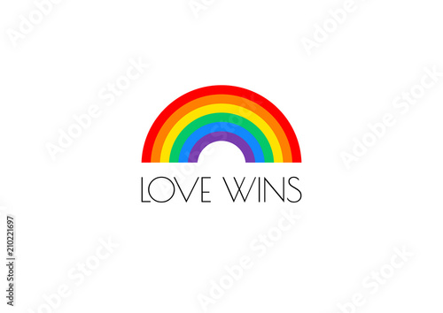 Fotomural Pride love wins text and rainbow flag vector illustration