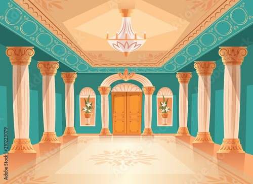 Fotografia Ballroom or palace reception hall vector illustration of luxury museum or chamber room