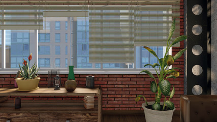 Blinds on a big window with urban view and brown brick wall in modern loft design style living room or balcony interior at daytime. 3D illustration.
