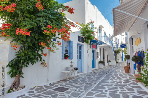 Cadres-photo bureau Ruelle etroite View of a typical narrow street in old town of Parikia, Paros island, Cyclades, Greece