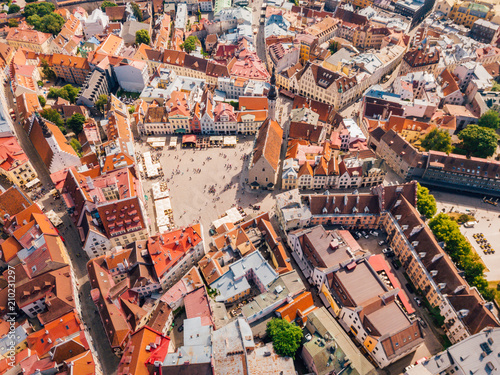 Deurstickers Luchtfoto Amazing aerial view of the Tallinn old town with many old houses sea and castle on the horizon.