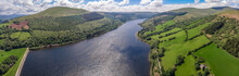 Aerial View Of Lake In Natural Park Of Brecon Beacons In Wales