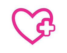 Positive Heart Medical Medicare Pharmacy Clinic Image Vector Icon Logo