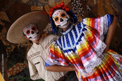 Fotografia, Obraz Personas con disfraces típicos de día de muertos