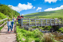 Family In The National Park Of Brecon Beacons, Wales