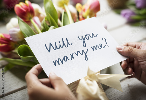 Fotografie, Obraz  Flower bouquet with the phrase will you marry me