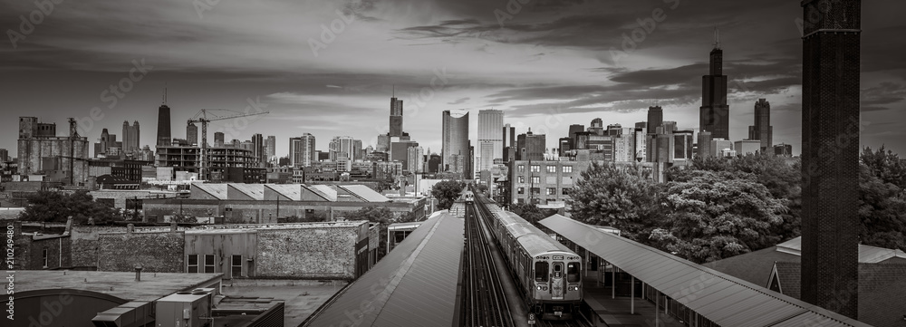 Fototapeta Chicago Skyline from the west side with the train