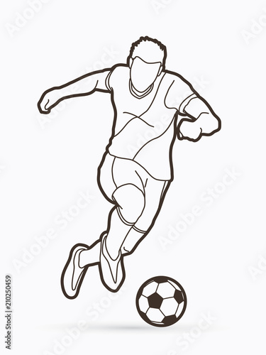 Fototapeta Soccer player shooting a ball action outline graphic vector