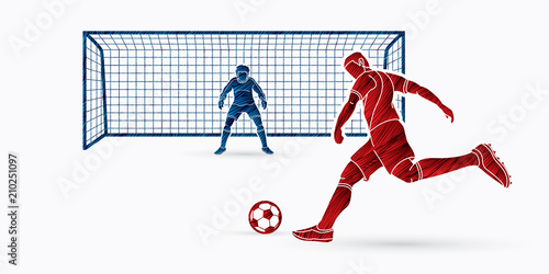 Foto Soccer player kicking ball with Goalkeeper standing action designed using grunge brush graphic vector