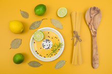 Cooking Ingredients On Yellow Background