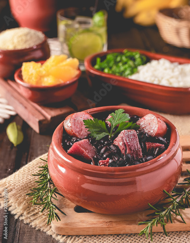 Feijoada (bean stew) - Brazilian Traditional Food (Dry Beef, Cabbage, Orange, Rice, Beans)