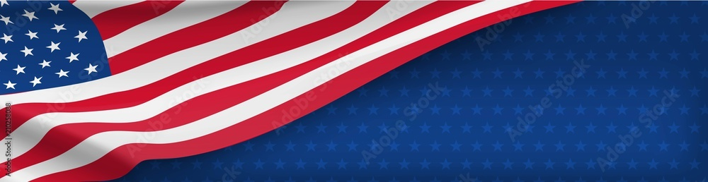 Fototapeta American nation banner with national flag and space for text. Independence and freedom vector concept. USA country day celebration. Traditional patriotic background with waving american flag