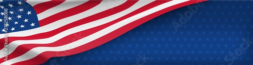 Valokuva American nation banner with national flag and space for text