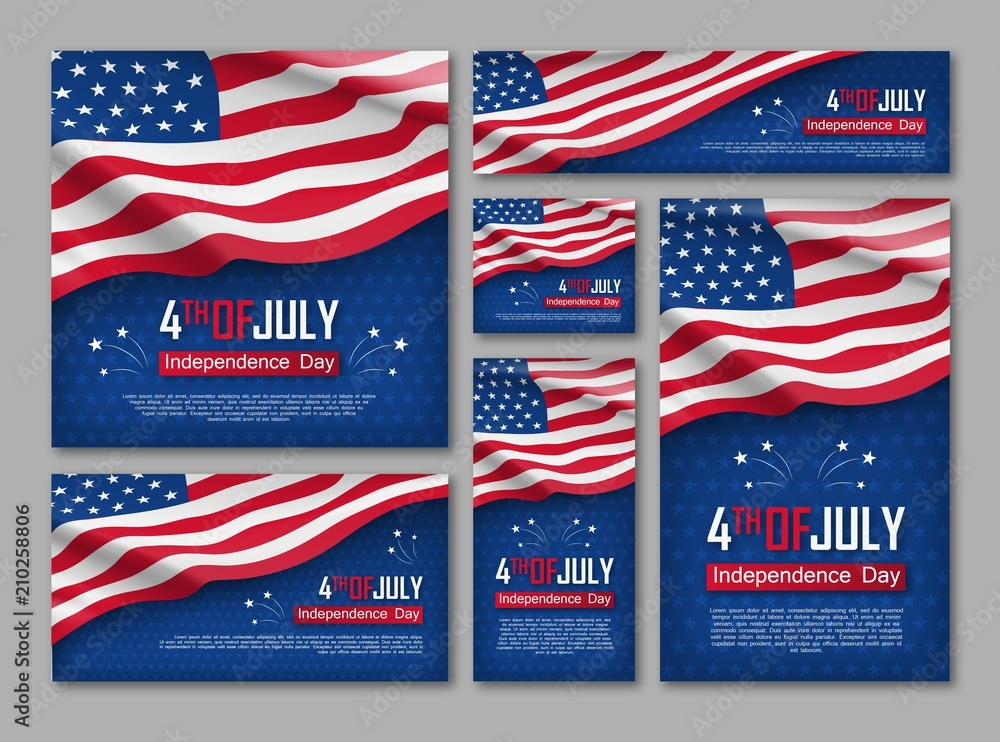 Fototapeta Independence day celebration banners set. 4th of july felicitation greeting cards with waving american national flag on blue background. USA country federal patriotic holiday. Vector illustration