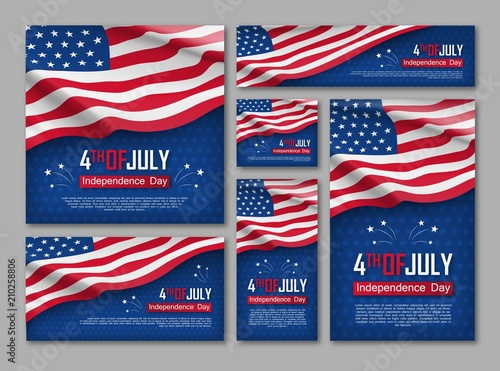 Fotografia Independence day celebration banners set