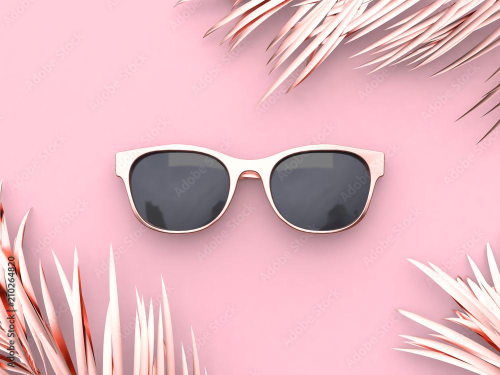 Fototapeta Pink scene abstract sunglasses summer concept 3d rendering