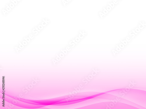 Abstract color wave design element with white lighting effect. White and pink line and wave.