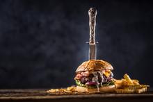 Close-up Home Made Beef Burger...