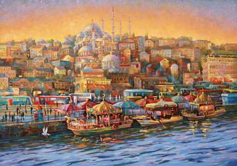 Oil painting on canvas. Istanbul. Golden Horn Bay. Author: Nikolay Sivenkov.