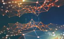 Global Network. Blockchain 3D ...