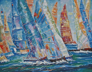 Fototapeta Do pokoju młodzieżowego Oil painting on canvas. Regatta of large yachts. Author: Nikolay Sivenkov.