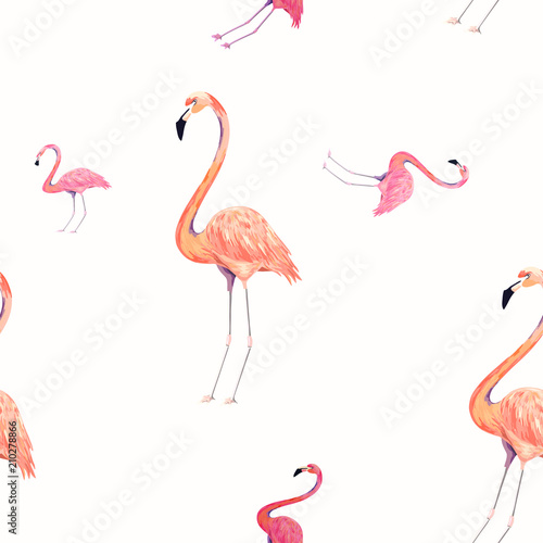 Canvas Prints Flamingo Seamless pattern with exotic flamingo. Summer decoration print for wrapping, wallpaper, fabric. Vector illustration.
