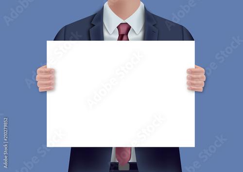 pancarte - présentation - homme - fond -  poster - panneau - concept - entrepris Canvas Print