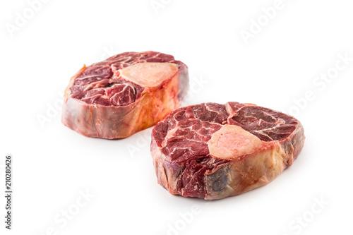 Raw beef shank isolated on white background Fototapet